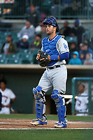Garrett Kennedy (23) of the Rancho Cucamonga Quakes in the field during a game against the Lancaster JetHawks at The Hanger on April 20, 2017 in Lancaster, California. Lancaster defeated Rancho Cucamonga 4-0. (Larry Goren/Four Seam Images)