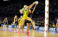 18.10.2018 Silver Ferns Katrina Grant and Australia's Gretel Tippett in action during the Silver Ferns v Australia netball test match at the TSB Arena in Wellington. Mandatory Photo Credit ©Michael Bradley.