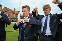 Conor Purcell  (GB&I) Sandy Scott (GB&I) trying on there new team USA ties during the opening ceremony at the Walker Cup, Royal Liverpool Golf CLub, Hoylake, Cheshire, England. 06/09/2019.<br /> Picture Fran Caffrey / Golffile.ie<br /> <br /> All photo usage must carry mandatory copyright credit (© Golffile | Fran Caffrey)