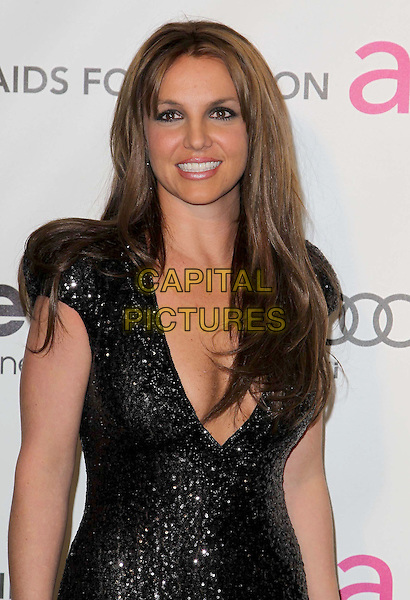 Britney Spears (wearing Michael Cinco Couture).The 21st Annual Elton John AIDS Foundation Academy Awards Viewing Party held at The City of West Hollywood Park in West Hollywood, California, USA..February 24th, 2013.oscars half length black dress sequins sequined plunging neckline cleavage dyed brown hair brunette smiling .CAP/ADM/KB.©Kevan Brooks/AdMedia/Capital Pictures.