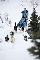 DeeDee Jonrowe on Trail Leaving Rainy Pass Chkpt AK 2005 Iditarod