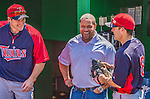 8 June 2013: Washington Nationals Director of Team Travel Rob McDonald chats with former Nationals Josh Willingham (right) and Jamey Carroll (right) prior to a game against the Minnesota Twins at Nationals Park in Washington, DC. The Twins edged out the Nationals 4-3 in 11 innings. Mandatory Credit: Ed Wolfstein Photo *** RAW (NEF) Image File Available ***