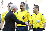 06 August 2014: Bayern legend and FIFA board member Franz Beckenbauer (left) shakes hands with referee <br /> Jair Marrufo (right). The Major League Soccer All-Stars played Bayern Munich of the German Bundesliga at Providence Park in Portland, Oregon in the 2014 MLS All-Star Game. The MLS All-Stars won the game 2-1.