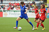 Portland, OR - Sunday, May 29, 2016: Seattle Reign FC midfielder Keelin Winters (11) and Portland Thorns FC forward Hayley Raso (21) during a regular season National Women's Soccer League (NWSL) match at Providence Park.