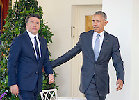 United States President Barack Obama and Prime Minister Matteo Renzi of Italy arrive to hold a joint press conference in the Rose Garden of the the White House in Washington, DC on Tuesday, October 18, 2016. <br /> Credit: Ron Sachs / CNP /MediaPunch