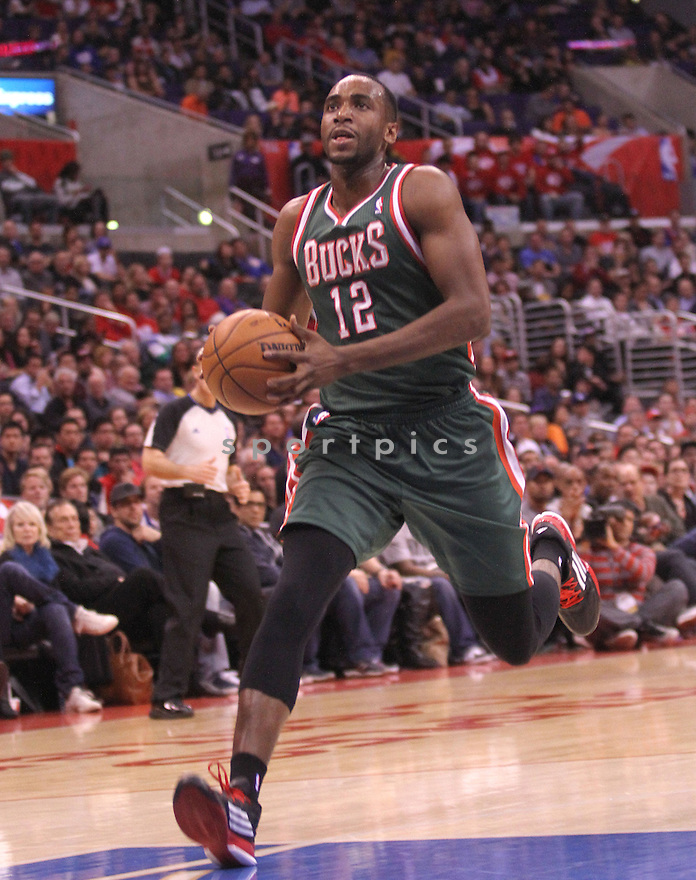 Milwaukee Bucks Luc Mbah a Moute (12) during a game against the Clippers on March 6, 2013 at the Staples Center in Los Angeles, CA. The Clippers beat the Bucks 117-101.