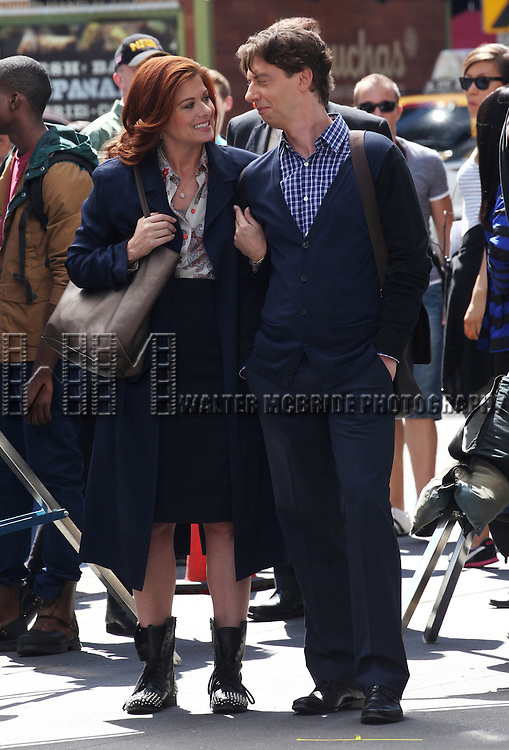 Debra Messing & Christian Borle filming a scene from the NBC TV Show 'Smash' in Times Square, New York City on September 12, 2012