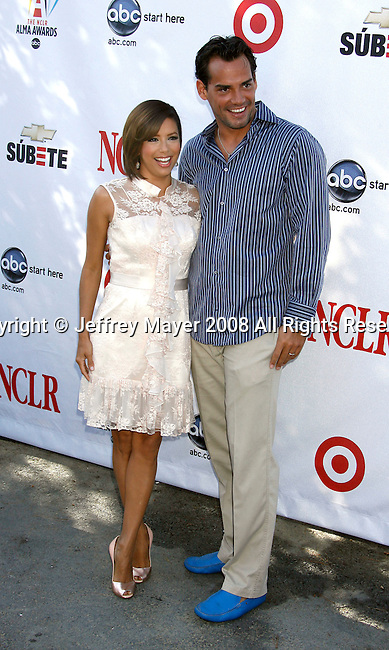 Actress Eva Longoria Parker and Cristian de la Fuente attend the 2008 ALMA Awards Nominees Press Conference at Universal Studios on July 21, 2008 in Universal City, California.