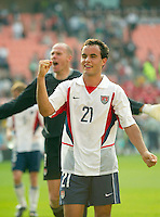 Landon Donovan celebrates the USA's win over Mexico in the second round of the World Cup in Jeonju, Soth Korea, Monday June 17, 2002. Images provided in partnership with International Sports Images. (Please credit: John Todd/Int'l Sports Images/DSA)