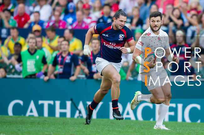 United States vs England during the HSBC Sevens Wold Series match of the Cathay Pacific / HSBC Hong Kong Sevens at the Hong Kong Stadium on 28 March 2015 in Hong Kong, China. Photo by Juan Manuel Serrano / Power Sport Images