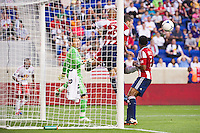 Danny Califf (23) of CD Chivas USA heads the ball clear of his goal. The New York Red Bulls and CD Chivas USA played to a 1-1 tie during a Major League Soccer (MLS) match at Red Bull Arena in Harrison, NJ, on May 23, 2012.