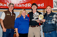 The Donlin Gold Sportsmanship Award is presented by Andy Cole, general manager for Donlin Gold with Kurt Parkan and Jan Halstead to Allen Moore at the Nome Musher's Award Banquet during the 2017 Iditarod on Sunday March 19, 2017.<br /> <br /> Photo by Jeff Schultz/SchultzPhoto.com  (C) 2017  ALL RIGHTS RESERVED