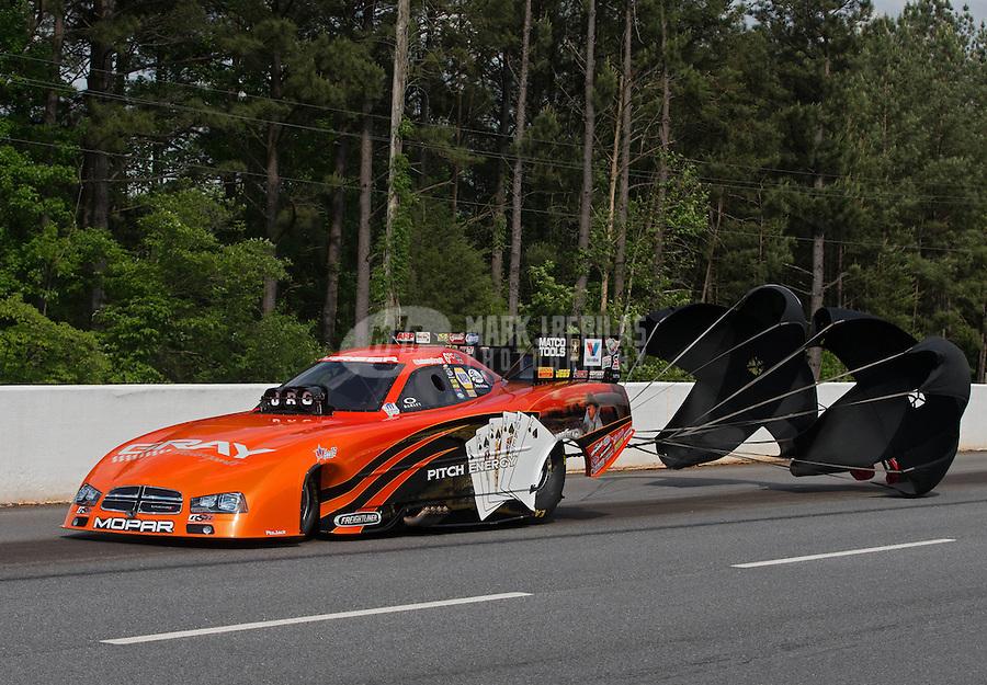 May 11, 2013; Commerce, GA, USA: NHRA funny car driver Johnny Gray after winning the Southern Nationals at Atlanta Dragway. Mandatory Credit: Mark J. Rebilas-