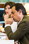 Yolanda Diaz of Unidos Podemos, Fernando Martinez Maillo of Partido Popular and Francisco Maruenda, director of La Razon during the debate on agreements with representatives of the four major political forces at the headquarters of the newspaper La Razon . 19,06,2016. (ALTERPHOTOS/Rodrigo Jimenez)