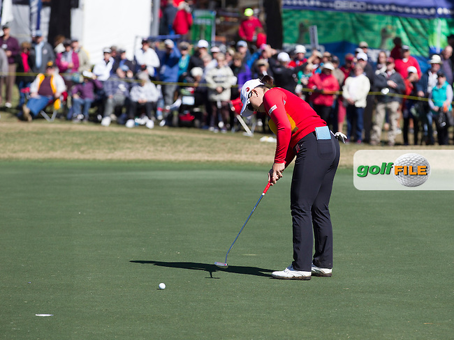 Ha Ha Jang sinking her putt on the 18th  to take the lead at the end of the continuation of the Second round of the LPGA Coates Golf Championship 2016 , from the Golden Ocala Golf and Equestrian Club, Ocala, Florida. 5/2/16<br /> Picture: Mark Davison | Golffile<br /> <br /> <br /> All photos usage must carry mandatory copyright credit (&copy; Golffile | Mark Davison)