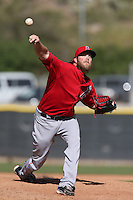 Josh Wall # 35 of the Los Angeles Angels pitches during a Minor League Spring Training Game against the Oakland Athletics at the Los Angeles Angels Spring Training Complex on March 17, 2014 in Tempe, Arizona. (Larry Goren/Four Seam Images)