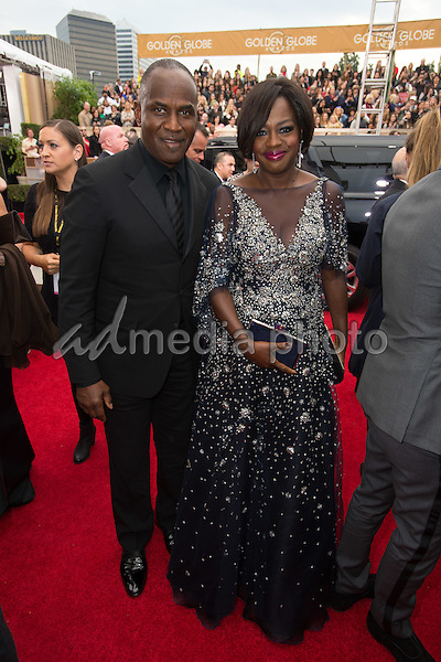 Julius Tennon and Viola Davis arrive at the 73rd Annual Golden Globe Awards at the Beverly Hilton in Beverly Hills, CA on Sunday, January 10, 2016. Photo Credit: HFPA/AdMedia