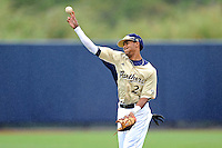 4 March 2012:  FIU shortstop Julius Gaines (2) throws pre-game as the FIU Golden Panthers defeated the Brown University Bears, 8-3, at University Park Stadium in Miami, Florida.