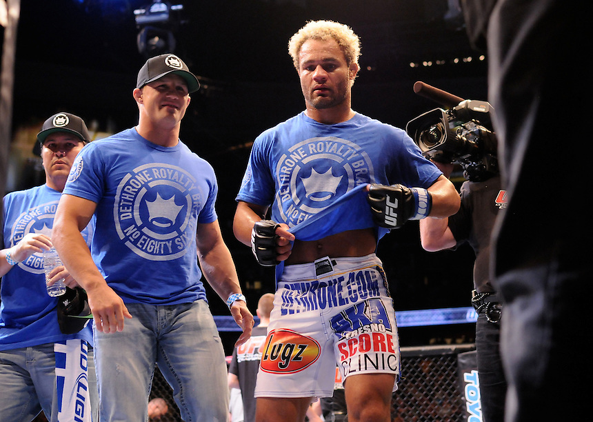 24 SEPTEMBER 2011:  Josh Koscheck  leaves the ring with his trainers after beating Matt Hughes  during UFC 135 at the Pepsi Center in Denver, Colorado. *****For Editorial Use Only*****