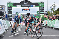 Picture by Allan McKenzie/SWpix.com - 15/05/2018 - Cycling - OVO Energy Tour Series Mens Race Round 2:Motherwell - JLT Condor's Matt Gibson leads Canyon Eisberg's Harry Tanfield & Madison Genesis' Rich Handley, gantry, branding.