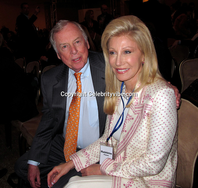 T. Boone Pickens and wife Madeleine Pickens..Milken Institute Global Conference..Shaping the Future..Beverly Hilton Hotel..Beverly Hills, CA, USA..Monday, April 26, 2010..Photo By CelebrityVibe.com.To license this image please call (212) 410 5354; or Email: CelebrityVibe@gmail.com ; .website: www.CelebrityVibe.com.