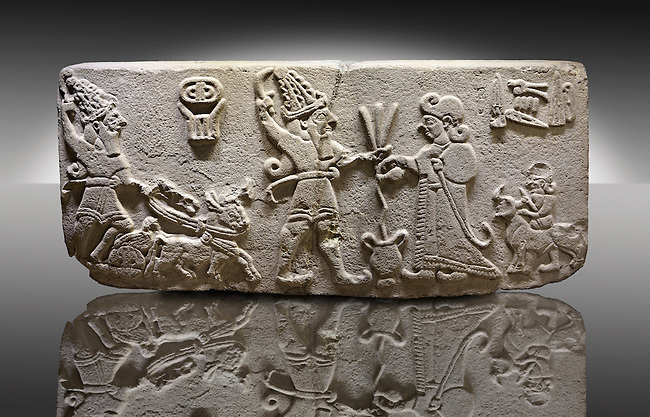 "Photo of Neo-Hittite orthostat from Karkamis, Turkey. Museum of Anatolian Civilisations, Ankara.  The meeting of the ""Storm God"" on right and a King on the left. 3"