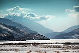 USA, Utah, Midway, the icy landscape of Deer Creek Reservoir