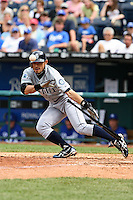 Seattle center fielder Ichiro Suzuki attempts to bunt in the ninth inning against the Royals at Kauffman Stadium in Kansas City, Missouri on May 27, 2007.  The Mariners won 7-4.