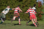 Noam Dubart breaks through Manurewa defenders  and heads for the tryline to score the second of Karaka's 3 tries. Counties Manukau Premier rugby game between Karaka & Manurewa played at the Karaka Domain on July 5th 2008..Karaka won 22 - 12.