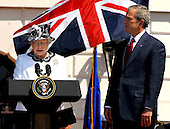 Washington, D.C. - May 7, 2007 --  Her Majesty Queen Elizabeth II makes remarks as she and His Royal Highness The Prince Philip, Duke of Edinburgh of Great Britain are welcomed by United States President George W. Bush and first lady Laura Bush during a South Lawn Arrival Ceremony on the South Lawn of the White House in Washington, D.C. on Monday, May 7, 2007.  .Credit: Ron Sachs / CNP