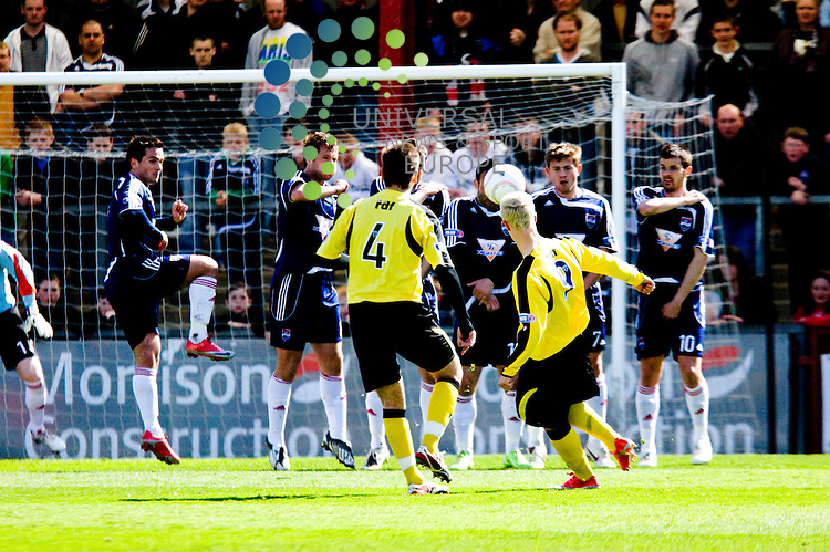 FOOTBALL.ROSS COUNTY v LIVINGSTON.Livingstons Leigh Griffiths scores from a free kick to give Livi the lead. Picture by Gordon Gillespie