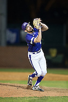 High Point Panthers relief pitcher Matt Hodges (25) catches a pop fly during game two of a double-header against the NJIT Highlanders at Williard Stadium on February 18, 2017 in High Point, North Carolina.  The Highlanders defeated the Panthers 4-2.  (Brian Westerholt/Four Seam Images)