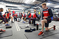 Swansea players exercise in the gym during the Swansea City Training at The Fairwood Training Ground, Swansea, Wales, UK. Thursday 04 January 2018
