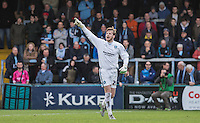Goalkeeper Alex Lynch of Wycombe Wanderers gives instruction as he replaces the departed  of Wycombe Wanderers during the Sky Bet League 2 match between Wycombe Wanderers and Leyton Orient at Adams Park, High Wycombe, England on 23 January 2016. Photo by Andy Rowland / PRiME Media Images.