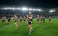 Picture by Allan McKenzie/SWpix.com - 19/04/2018 - Rugby League - Betfred Super League - Hull FC v Leeds Rhinos - KC Stadium, Kingston upon Hull, England - Hull FC thank the fans after defeating Leeds.