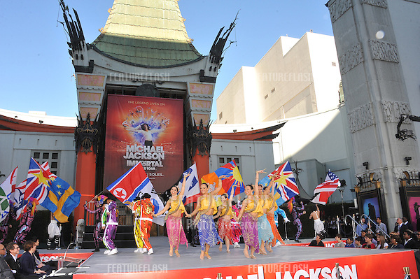"Performers at the memorial celebration for Michael Jackson at Grauman's Chinese Theatre..Cirque du Soleil's new show ""Michael Jackson THE IMMORTAL World Tour"" premieres in Los Angeles tomorrow..January 26, 2012  Los Angeles, CA.Picture: Paul Smith / Featureflash"