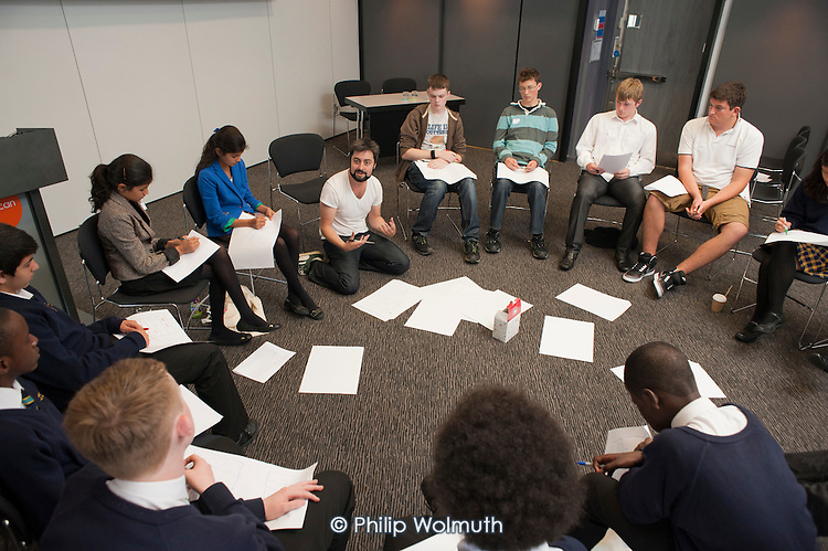 School students in a smartphone app development workshop at the Apps for Good Awards 2012, the Barbican, London.