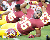 Washington Redskins running back Darrel Young (36) participates in calisthenics as he warms-up prior to the game against the Detroit Lions at FedEx Field in Landover, Maryland on Thursday, August 20, 2015.<br /> Credit: Ron Sachs / CNP