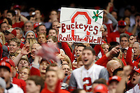 Ohio State fans cheer on the Buckeyes during the third quarter of the Allstate Sugar Bowl college football playoff semifinal against the Alabama Crimson Tide at the Mercedes-Benz Superdome in New Orleans on Jan. 1, 2015. (Adam Cairns / The Columbus Dispatch)