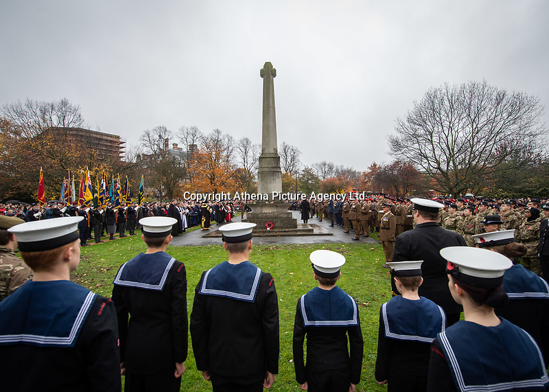 Pictured: Former and serving members of the Armed Forces gather outside York Minster. Sunday 11 November 2018<br /> Re: Commemoration for the 100 years since the end of the First World War on Remembrance Sunday at York Minster, England, UK