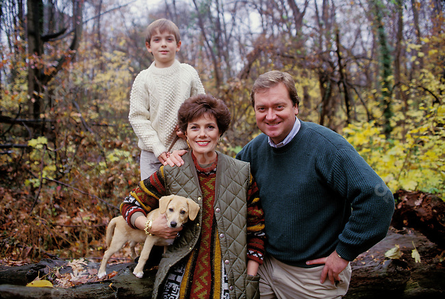 Tim Russert at home with his wife Maureen, son Luke and dog Buster, in Washington, D.C.  November 1992.