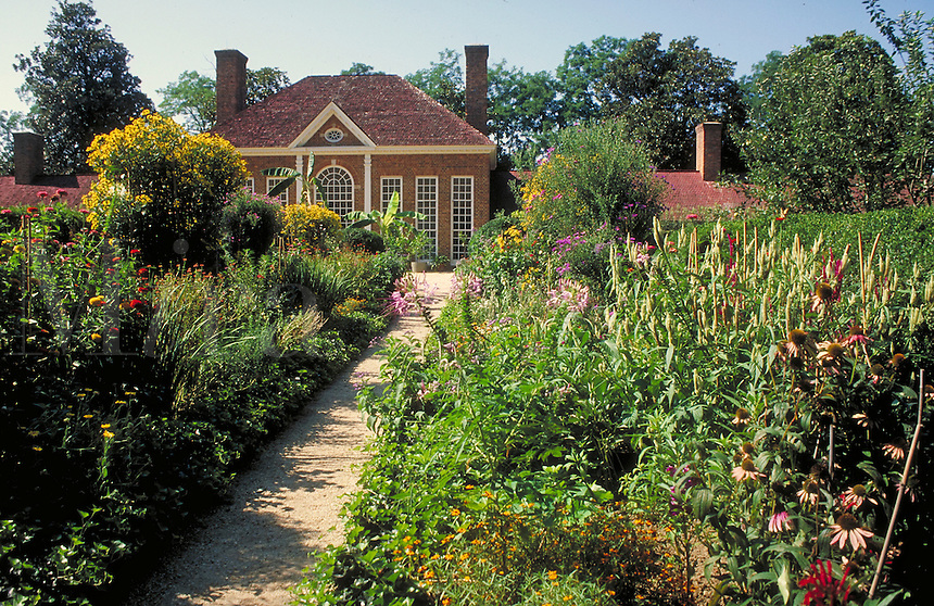 flower gardens at Mt. Vernon, home of George Washington. Mt. Vernon Virginia USA.