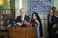 Presidency Election.tehran downtown. 12/6/09.Ershad mosque. .Mr. Moosavi the presidency candidate and his wife Zahra Rahnavard,voting