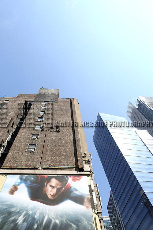 Billboard Ad Campaign for the new Superman superhero film 'Man Of Steel' in Times Square, New York City on May 30, 2013. The Movie is directed by Zack Snyder and stars Henry Cavill, Amy Adams, Michael Shannon, Russell Crowe.
