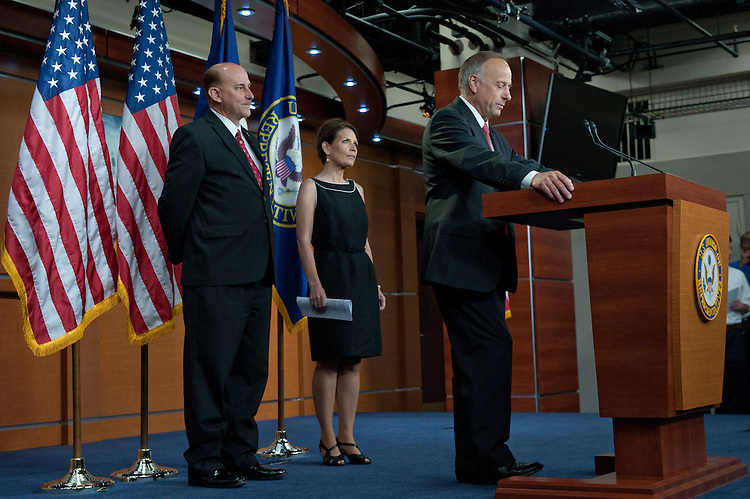 UNITED STATES - JULY 13: Louie Gohmert,, R-TX., Michele Bachmann, R-MN., and Steve King, R-IA.,during a press conference announcing the PROMISES Act, H.R. 2496 in the U.S. Capitol on July 13, 2011. (Photo By Douglas Graham/Roll Call)