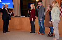 Hunter McFerrin/Siloam Sunday<br /> <br /> The city board met for their first meeting of the year on Wednesday night, which began with the swearing in of three newly-elected members, as well as Brad Burns, Ward 2 Director whose reelection went uncontested, but he still had to be sworn in. Pictured (from left) is Ward 1 Director Mindy Hunt; Burns; Ward 3 Director Marla Sappington; Ward 4 Director Lesa Rissler (formerly Brosch).