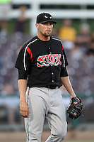 Jerry Sullivan #24 of the Lake Elsinore Storm pitches against the Inland Empire 66'ers at San Manuel Stadium on July 15, 2012 in San Bernardino, California. Inland Empire defeated Lake Elsinore 4-3. (Larry Goren/Four Seam Images)