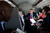 United States Secretary of Transportation Ray LaHood talks with U.S. President Barack Obama aboard Marine One during a flight from the White House to Joint Base Andrews, Maryland, September 22, 2011. From left, are: Personal Aide Reggie Love; Nancy-Ann DeParle, Deputy Chief of Staff for Policy; and Press Secretary Jay Carney. .Mandatory Credit: Pete Souza - White House via CNP