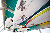 INDONESIA, Mentawai Islands, Kandui Resort, low angle view of surfboards on boat
