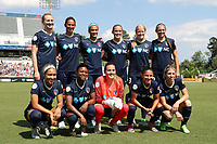 Cary, North Carolina  - Saturday June 03, 2017: NC Courage starters. Front row (from left): Jaelene Hinkle, Taylor Smith, Katelyn Rowland, Debinha, McCall Zerboni; Back row (from left): Samantha Mewis, Abby Erceg, Lynn Williams, Abby Dahlkemper, Makenzy Doniak, and Ashley Hatch prior to a regular season National Women's Soccer League (NWSL) match between the North Carolina Courage and the FC Kansas City at Sahlen's Stadium at WakeMed Soccer Park. The Courage won the game 2-0.